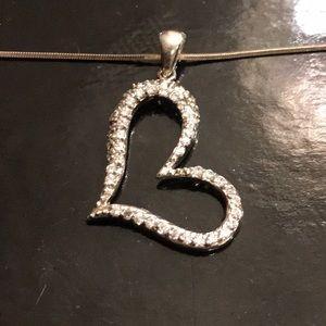 Jewelry - Sterling Silver Floating heart pendant w/ CZ